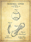 Baseball Cover Patent Drawing From 1924 Print by Aged Pixel