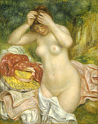 Skin Painting Posters - Bather Arranging her Hair Poster by Pierre Auguste Renoir