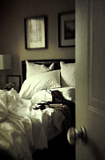 Erotic Photo Prints - Bedroom scene with under garments on bed Print by Sandra Cunningham