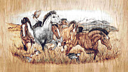 Running Pyrography Posters - Before There Were Fences Poster by Robert Jerore