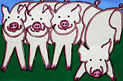 4 Beige Pigs Print by Matthew Brzostoski