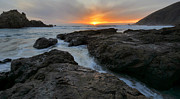 Big Sur Beach Framed Prints - Big Sur Sunset Framed Print by Stephen  Vecchiotti