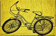 Lino Framed Prints - Bike 5 Framed Print by William Cauthern