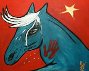 Metis Art Paintings - Blue Pony  by Will Logan