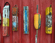 Fishing Shack Prints - Buoys at Rockport Motif Number One Lobster Shack Maritime Print by Jon Holiday