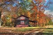Red Leaves Photos - 4 Burner Barn in Fall by Benanne Stiens