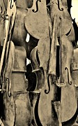 Violin Digital Art - 4 Cellos Sepia by Rob Hans
