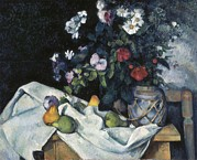 Still-life With Flowers Posters - Cezanne, Paul 1839-1906. Still Life Poster by Everett