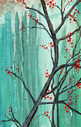 Cherry Art Painting Framed Prints - Cherry Tree  Framed Print by Carrie Jackson