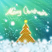 Yellow Digital Art Originals - Chess Style Christmas Tree by Atiketta Sangasaeng