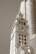 Flag Framed Prints Posters - Chicago Clocktower Poster by Frank Romeo