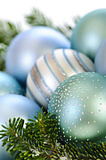 Sphere Photo Prints - Christmas ornaments Print by Elena Elisseeva