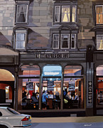 Urban Scenes Prints - City Bar Print by Malcolm Warrilow