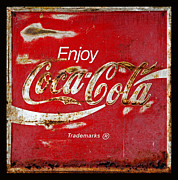 Closeup Coke Sign Prints - Coca Cola Vintage Rusty Sign Black Border Print by John Stephens