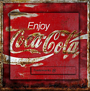 Weathered Coca Cola Sign Framed Prints - Coca Cola Vintage Rusty Sign Framed Print by John Stephens