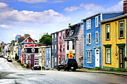 Red Buildings Posters - Colorful houses in St. Johns Poster by Elena Elisseeva