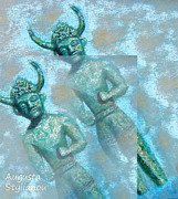 Cross-like Idol Of Pomos Digital Art Posters - Cyprus Gods of Trade. Poster by Augusta Stylianou