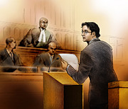 Lawyer Drawings - Defence Lawyer Charn Gill- in Court by Alex Tavshunsky