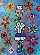 Tray Paintings - Dia De Los Muertos Nurse by Pristine Cartera Turkus