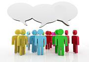 Debate Digital Art Posters - Discussion blank speech bubbles Poster by Michal Bednarek