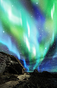 Sky Mixed Media Originals - Dramatic Aurora by Atiketta Sangasaeng