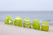 Life Art - Easter decorated eggs on sand by Michal Bednarek