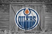 Puck Framed Prints - Edmonton Oilers Framed Print by Joe Hamilton