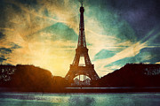 Vintage Eiffel Tower Metal Prints - Eiffel Tower in Paris Fance in retro style Metal Print by Michal Bednarek