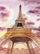 Gold Skies Framed Prints - Eiffel Tower Paris France Framed Print by Irina Sztukowski