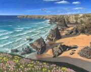Steps Painting Posters - Evening Light Bedruthan Steps Cornwall Poster by Richard Harpum