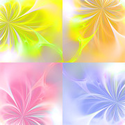  Digital Art Paintings - 4 Flowers by Stefan Kuhn