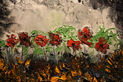 Pallet Knife Prints - Flowers through the storm Print by Michael Kulick