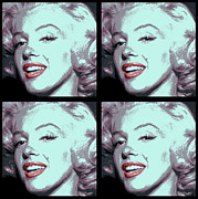 Award Digital Art Posters - 4 Frame Marilyn Pop Art Poster by Daniel Hagerman