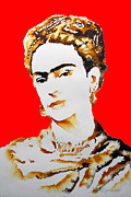 Amate Bark Paper Prints - Frida Print by Juan Jose Espinoza