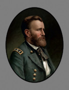 Portraits Tapestries Textiles Metal Prints - General Grant Metal Print by War Is Hell Store