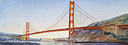 Famous Watercolor Framed Prints - Golden Gate Bridge San Francisco Framed Print by Irina Sztukowski