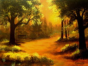 Serenity Landscapes Paintings - Golden  Glow  by Shasta Eone