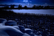 Snowy Night Art - Great Salt Lake Utah by Utah Images