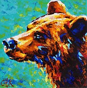 Christine Karron Metal Prints - Grizzly Bear Metal Print by Christine Karron