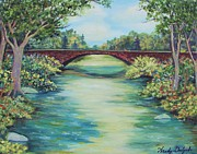 River View Paintings - Guadalupe River Bridge by Wendy Delgado
