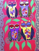 Objects Of Art Framed Prints - 4 Happy Owls Framed Print by Kerri Ambrosino GALLERY