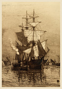 Seaport Posters - Historic Seaport Schooner Poster by John Stephens