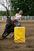 Competition Prints - Horse and Rider in Barrel Race Print by Amy Cicconi