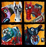 Apocalypse Mixed Media Framed Prints - 4 Horsemen Framed Print by Laura Barbosa