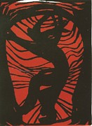 Linocut Reliefs Posters - 4. Imprisoned Poster by Mollie Townsend