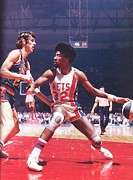 Julius Metal Prints - Julius Erving Poster Metal Print by Sanely Great