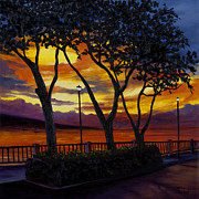 Lamp Posts Prints - Lahaina Sunset Print by Darice Machel McGuire
