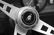 Black And White Photos Photos - Lamborghini Steering Wheel Emblem by Jill Reger