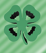 Irish Folklore Prints - 4 Leaf Clover  Print by Kate Farrant