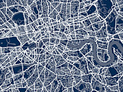 Navy Digital Art Prints - London England Street Map Print by Michael Tompsett